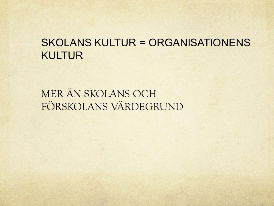 SKOLANS KULTUR = ORGANISATIONENS KULTUR MER ÄN SKOLANS OCH FÖRSKOLANS VÄRDEGRUND