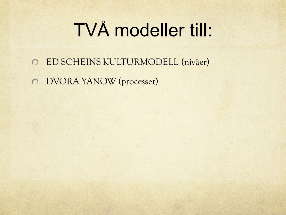 TVÅ modeller till: ED SCHEINS KULTURMODELL (nivåer) DVORA YANOW (processer)