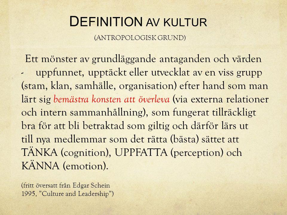 D EFINITION AV KULTUR (ANTROPOLOGISK GRUND) Ett mönster av grundläggande antaganden och värden -uppfunnet, upptäckt eller utvecklat av en viss grupp (