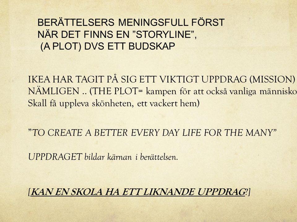 IKEA HAR TAGIT PÅ SIG ETT VIKTIGT UPPDRAG (MISSION) NÄMLIGEN.. (THE PLOT= kampen för att också vanliga människor Skall få uppleva skönheten, ett vacke