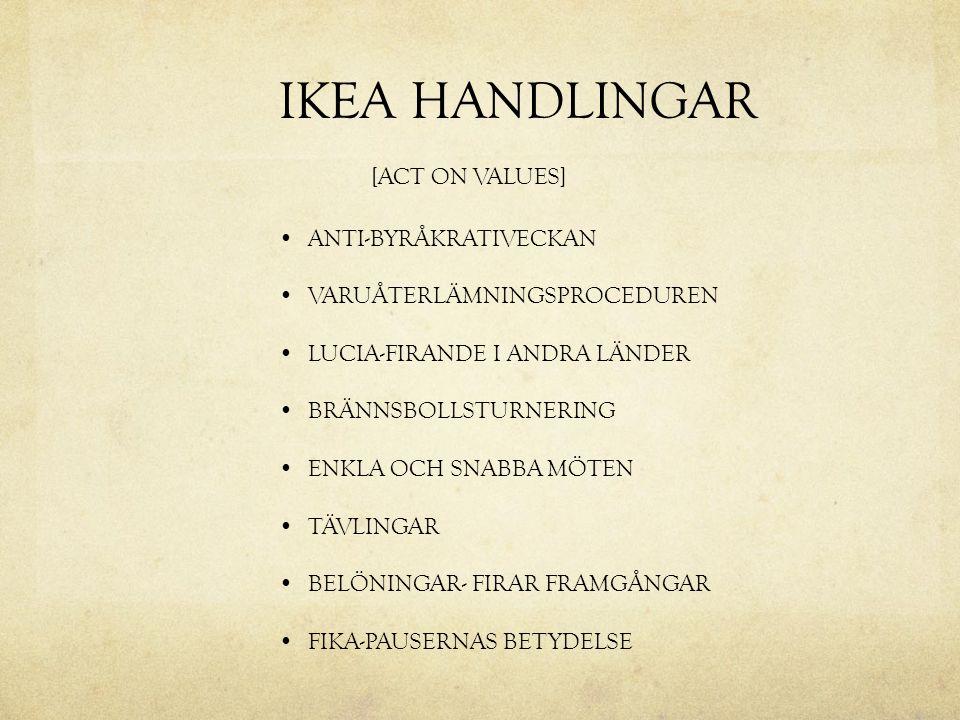 IKEA HANDLINGAR [ACT ON VALUES] ANTI-BYRÅKRATIVECKAN VARUÅTERLÄMNINGSPROCEDUREN LUCIA-FIRANDE I ANDRA LÄNDER BRÄNNSBOLLSTURNERING ENKLA OCH SNABBA MÖT