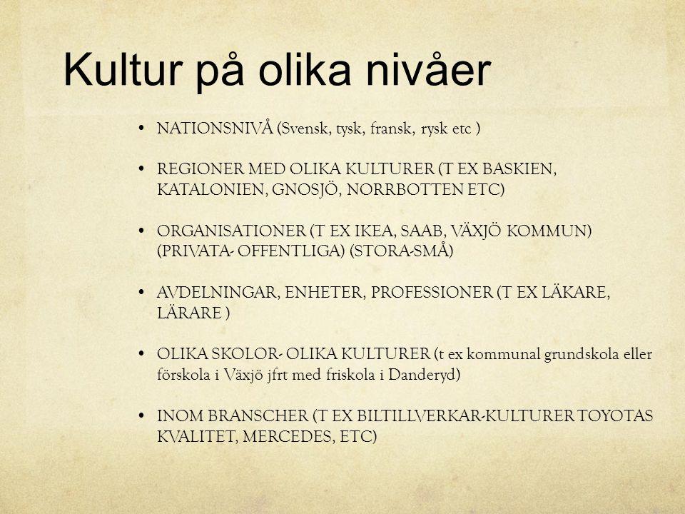 Kultur på olika nivåer NATIONSNIVÅ (Svensk, tysk, fransk, rysk etc ) REGIONER MED OLIKA KULTURER (T EX BASKIEN, KATALONIEN, GNOSJÖ, NORRBOTTEN ETC) OR
