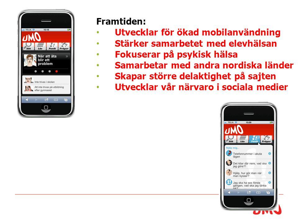 Framtiden: Utvecklar för ökad mobilanvändning Stärker samarbetet med elevhälsan Fokuserar på psykisk hälsa Samarbetar med andra nordiska länder Skapar större delaktighet på sajten Utvecklar vår närvaro i sociala medier