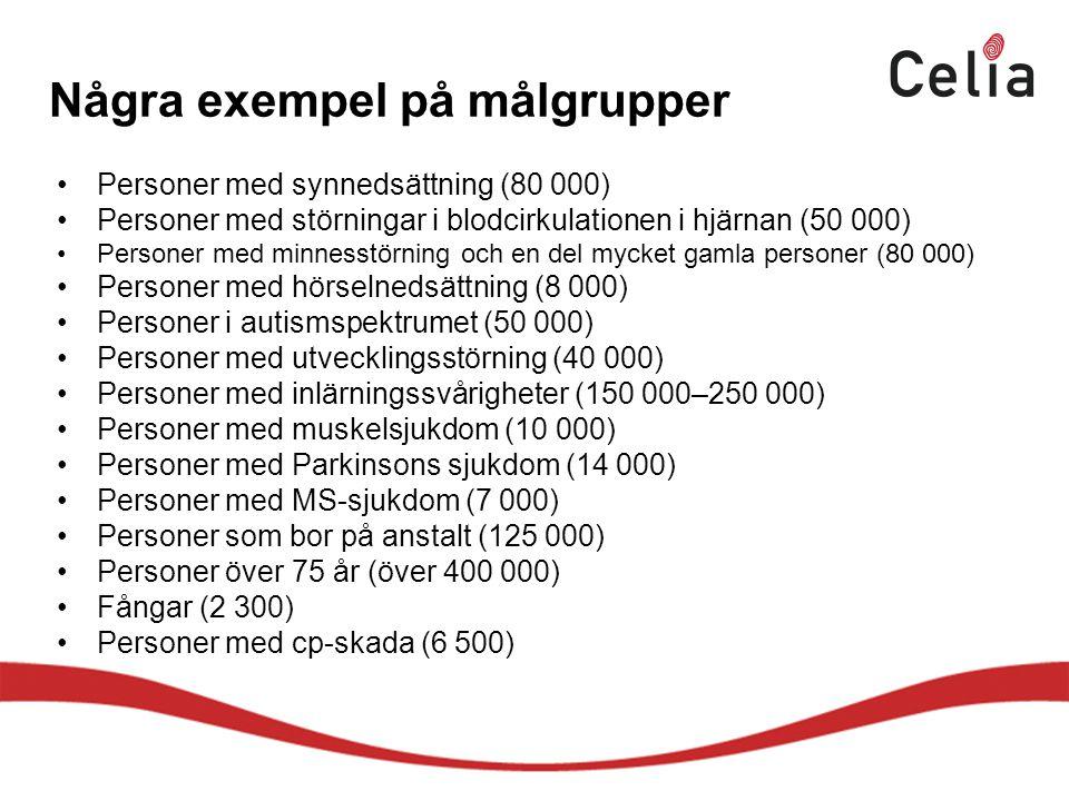 Några exempel på målgrupper Personer med synnedsättning (80 000) Personer med störningar i blodcirkulationen i hjärnan (50 000) Personer med minnesstörning och en del mycket gamla personer (80 000) Personer med hörselnedsättning (8 000) Personer i autismspektrumet (50 000) Personer med utvecklingsstörning (40 000) Personer med inlärningssvårigheter (150 000–250 000) Personer med muskelsjukdom (10 000) Personer med Parkinsons sjukdom (14 000) Personer med MS-sjukdom (7 000) Personer som bor på anstalt (125 000) Personer över 75 år (över 400 000) Fångar (2 300) Personer med cp-skada (6 500)