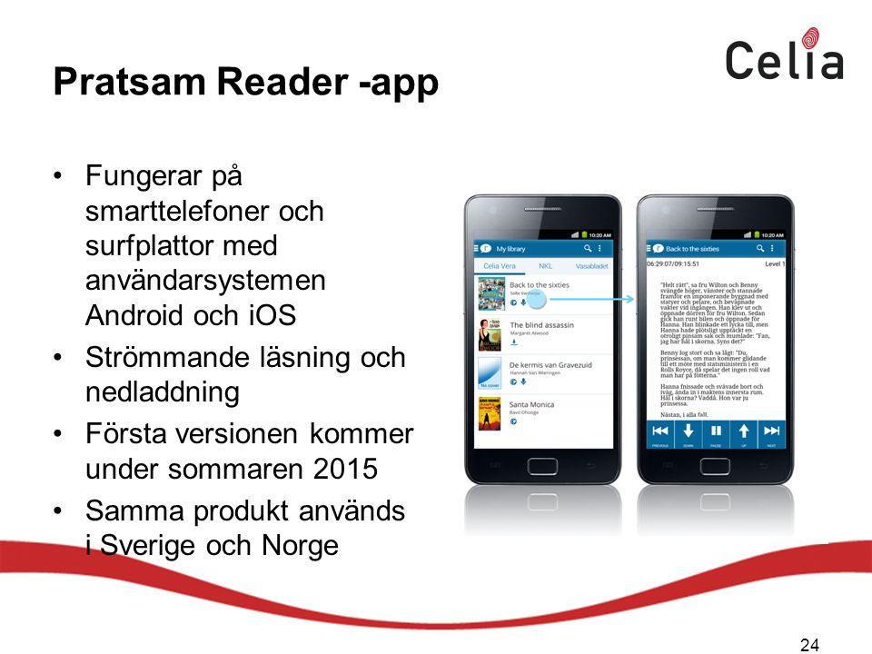 Pratsam Reader -app Fungerar på smarttelefoner och surfplattor med användarsystemen Android och iOS Strömmande läsning och nedladdning Första versionen kommer under sommaren 2015 Samma produkt används i Sverige och Norge 24