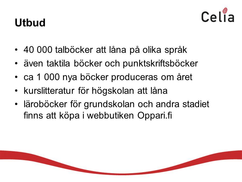 Utbud 40 000 talböcker att låna på olika språk även taktila böcker och punktskriftsböcker ca 1 000 nya böcker produceras om året kurslitteratur för högskolan att låna läroböcker för grundskolan och andra stadiet finns att köpa i webbutiken Oppari.fi