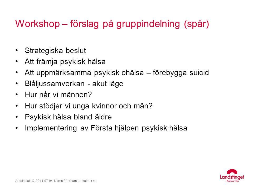 Workshop – förslag på gruppindelning (spår) Strategiska beslut Att främja psykisk hälsa Att uppmärksamma psykisk ohälsa – förebygga suicid Blåljussamv