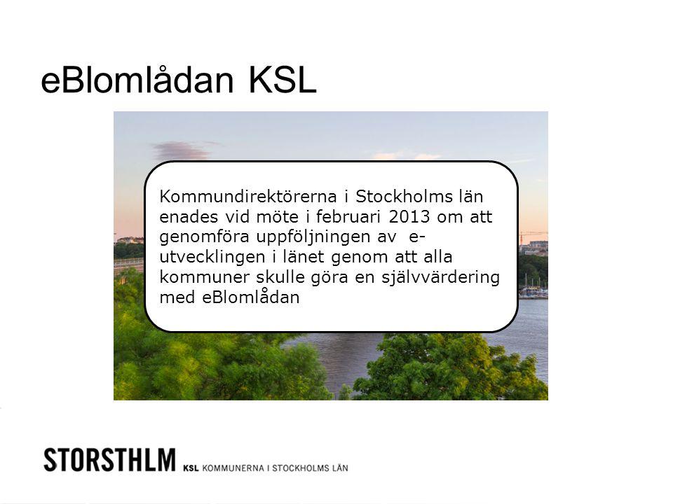 eBlomlådan KSL Kommundirektörerna i Stockholms län enades vid möte i februari 2013 om att genomföra uppföljningen av e- utvecklingen i länet genom att