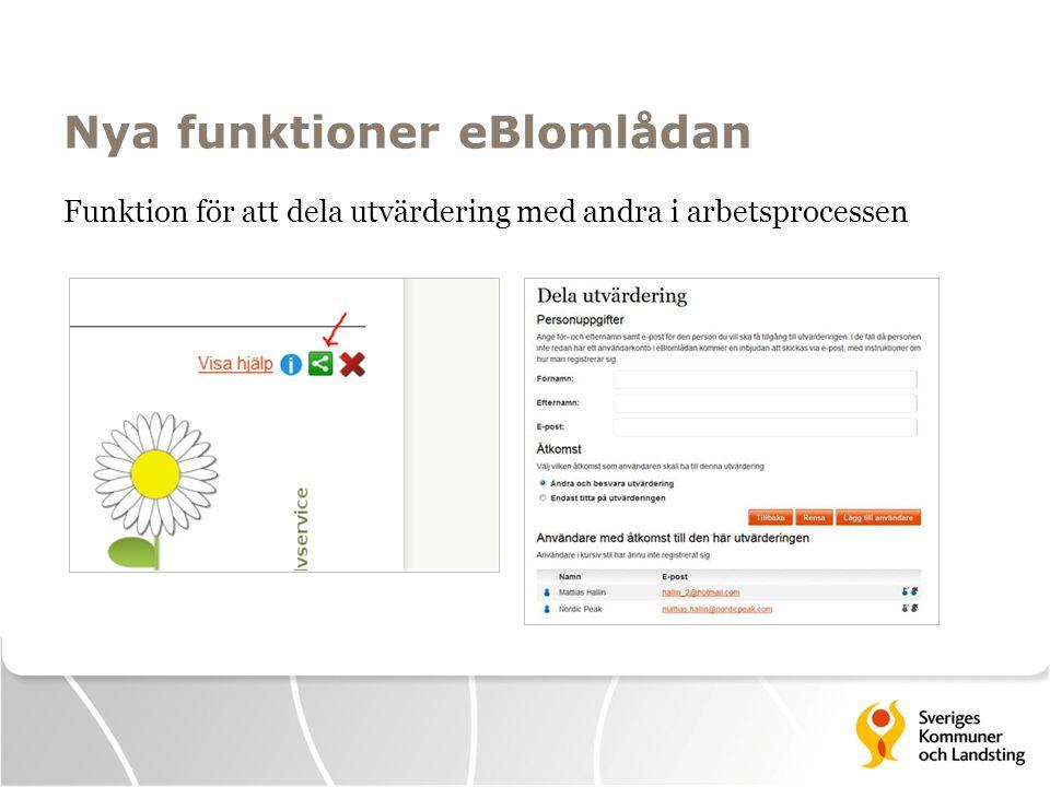 Nya funktioner eBlomlådan Funktion för att dela utvärdering med andra i arbetsprocessen