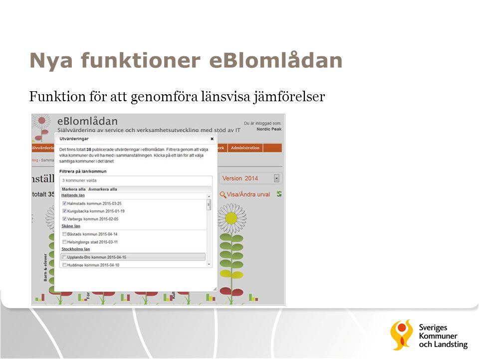 Nya funktioner eBlomlådan Funktion för att genomföra länsvisa jämförelser
