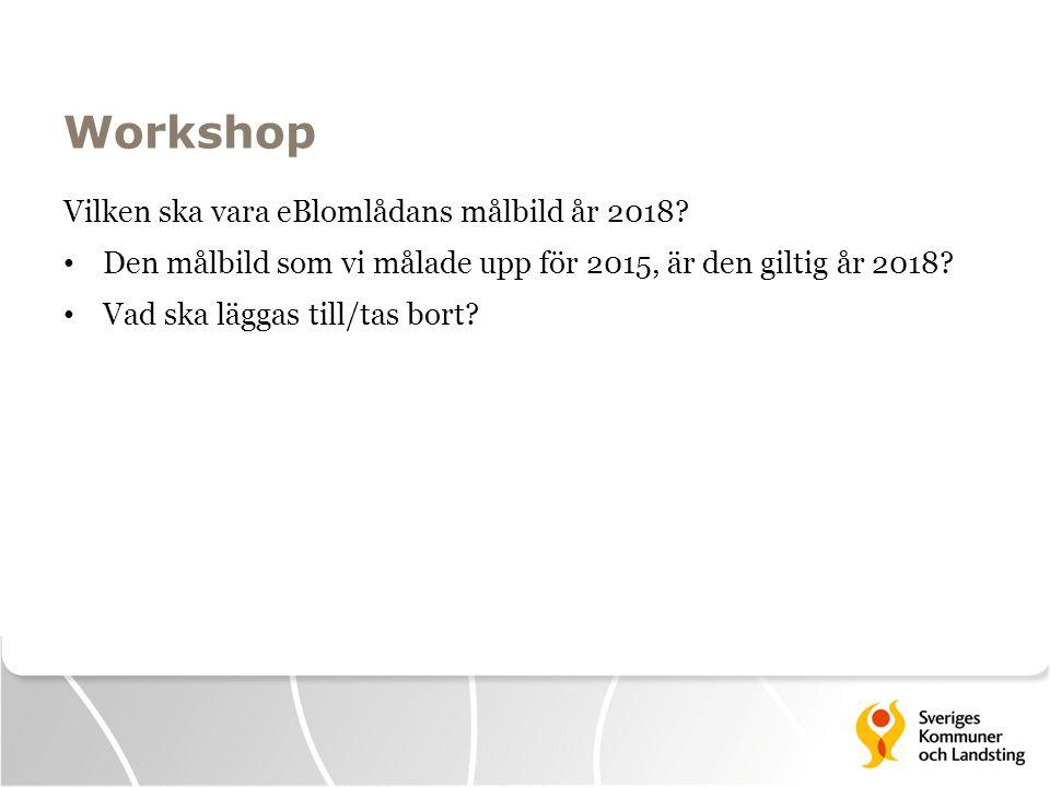 Workshop Vilken ska vara eBlomlådans målbild år 2018? Den målbild som vi målade upp för 2015, är den giltig år 2018? Vad ska läggas till/tas bort?