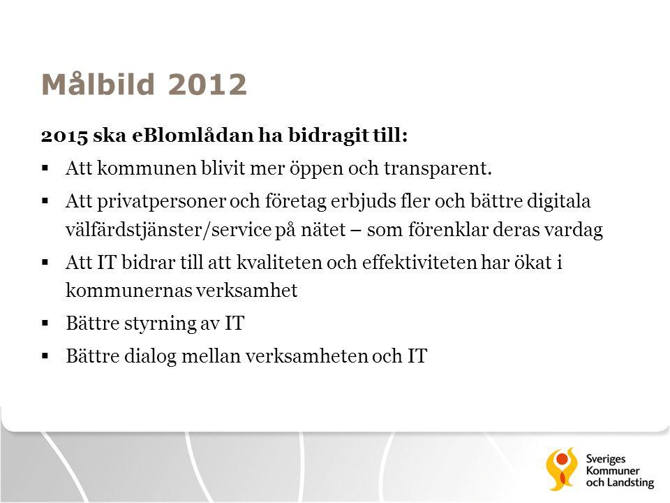 Målbild 2012 2015 ska eBlomlådan ha bidragit till:  Att kommunen blivit mer öppen och transparent.  Att privatpersoner och företag erbjuds fler och