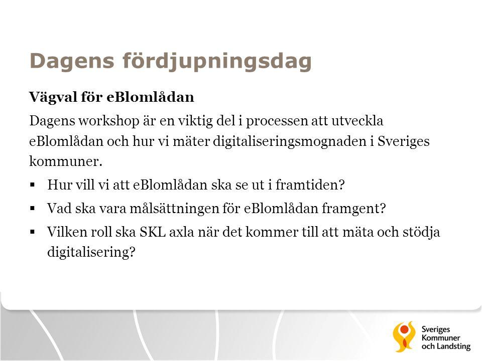 Dagens fördjupningsdag Vägval för eBlomlådan Dagens workshop är en viktig del i processen att utveckla eBlomlådan och hur vi mäter digitaliseringsmogn