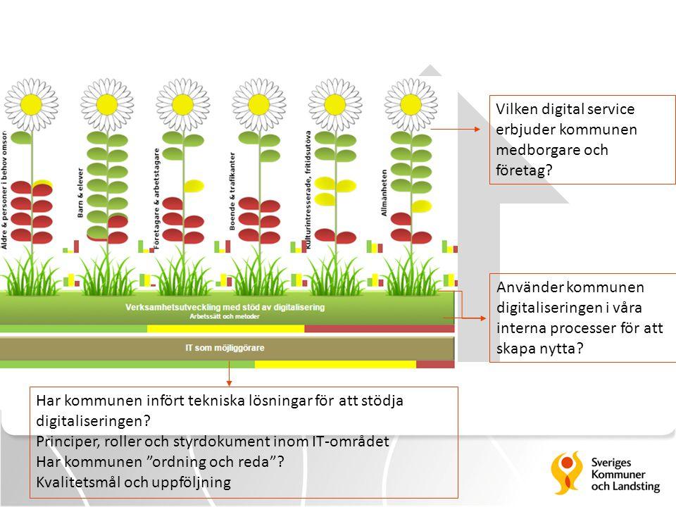 Vilken digital service erbjuder kommunen medborgare och företag? Använder kommunen digitaliseringen i våra interna processer för att skapa nytta? Har