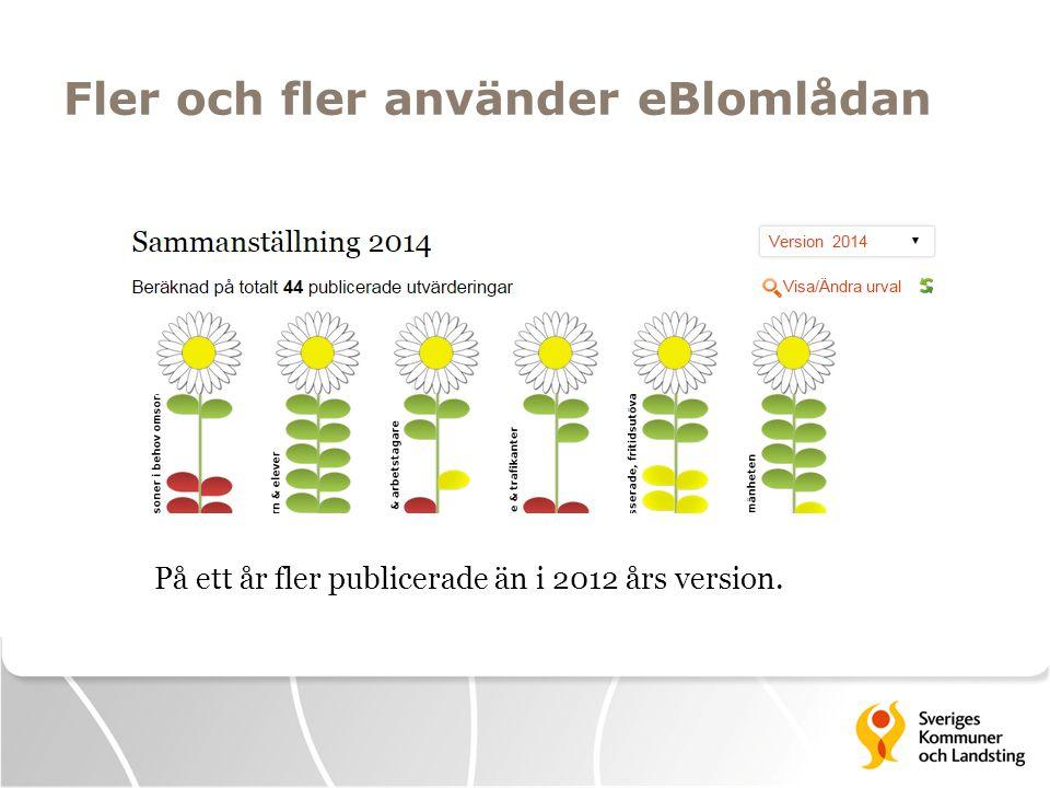 Fler och fler använder eBlomlådan  187 skapade självvärderingar i version 2014.
