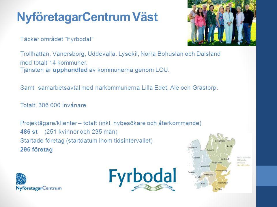 NyföretagarCentrum Väst Täcker området Fyrbodal Trollhättan, Vänersborg, Uddevalla, Lysekil, Norra Bohuslän och Dalsland med totalt 14 kommuner.