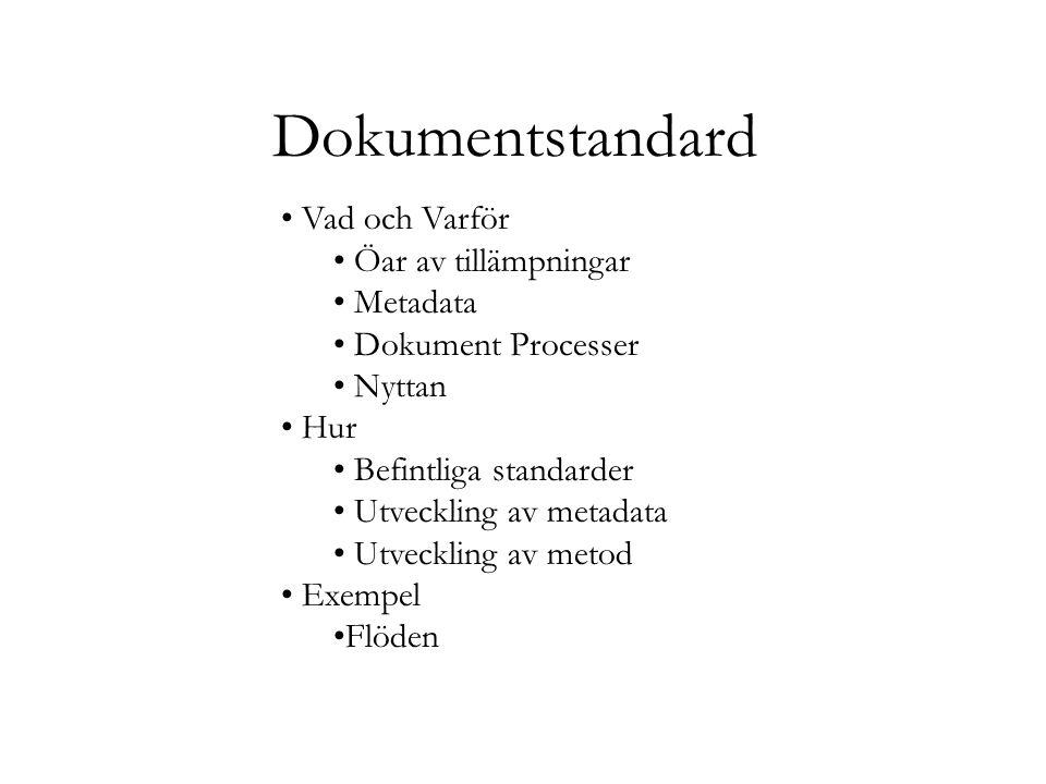 Dokumentstandard Vad och Varför Öar av tillämpningar Metadata Dokument Processer Nyttan Hur Befintliga standarder Utveckling av metadata Utveckling av metod Exempel Flöden