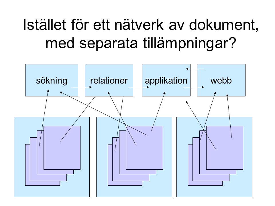 Istället för ett nätverk av dokument, med separata tillämpningar sökningrelationerapplikationwebb