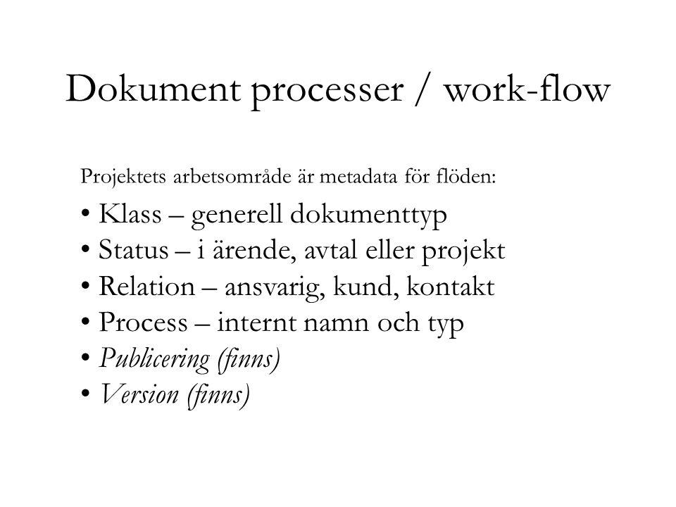 Dokument processer / work-flow Klass – generell dokumenttyp Status – i ärende, avtal eller projekt Relation – ansvarig, kund, kontakt Process – internt namn och typ Publicering (finns) Version (finns) Projektets arbetsområde är metadata för flöden: