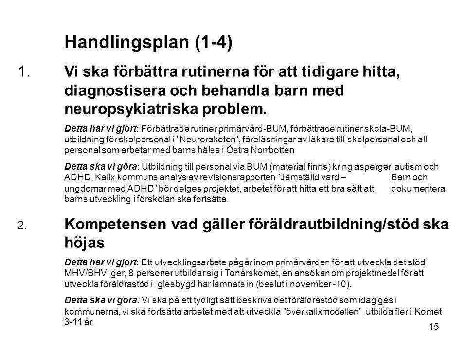 15 Handlingsplan (1-4) 1.Vi ska förbättra rutinerna för att tidigare hitta, diagnostisera och behandla barn med neuropsykiatriska problem.