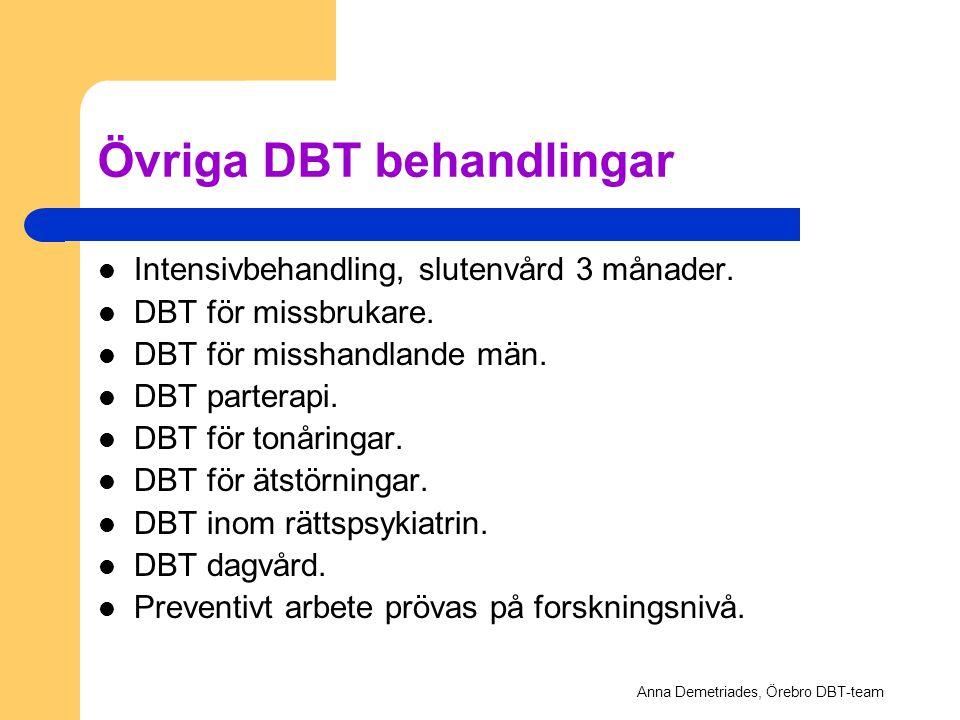 Övriga DBT behandlingar Intensivbehandling, slutenvård 3 månader. DBT för missbrukare. DBT för misshandlande män. DBT parterapi. DBT för tonåringar. D