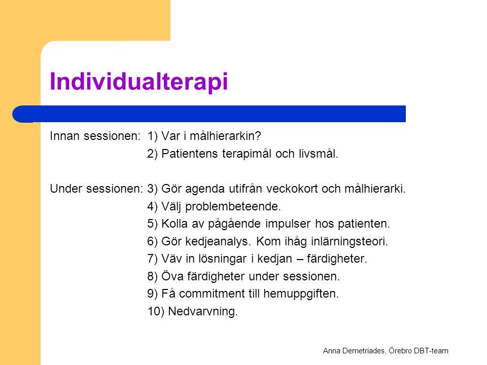 Individualterapi Innan sessionen:1) Var i målhierarkin? 2) Patientens terapimål och livsmål. Under sessionen:3) Gör agenda utifrån veckokort och målhi