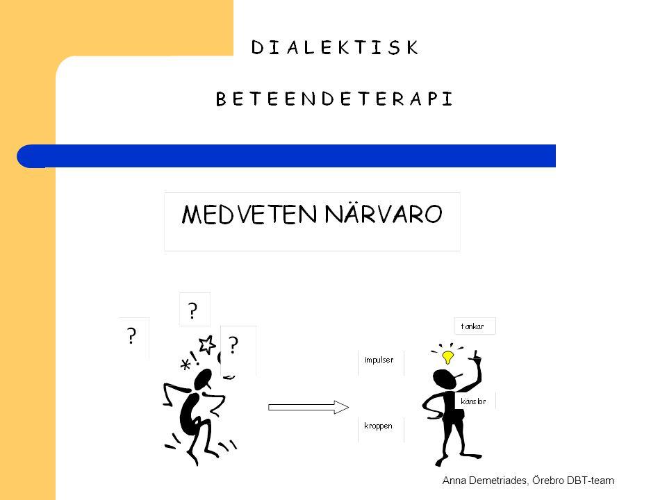 D I A L E K T I S K B E T E E N D E T E R A P I MEDVETEN NÄRVARO ? tankar ? impulser känslor kroppen Anna Demetriades, Örebro DBT-team
