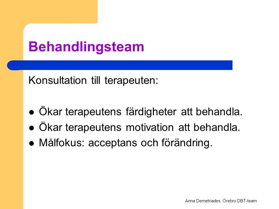 Behandlingsteam Konsultation till terapeuten: Ökar terapeutens färdigheter att behandla. Ökar terapeutens motivation att behandla. Målfokus: acceptans