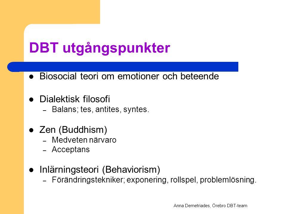 DBT utgångspunkter Biosocial teori om emotioner och beteende Dialektisk filosofi – Balans; tes, antites, syntes. Zen (Buddhism) – Medveten närvaro – A