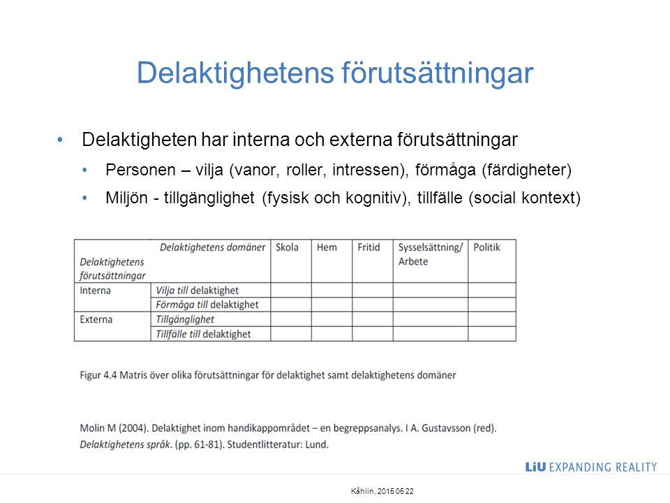 Delaktighet - ett centralt begrepp i svensk funktionshinderpolitik Sveriges funktionshinderspolitiska mål att samhället utformas så att människor med funktionshinder i alla åldrar blir fullt delaktiga i samhällslivet Lagen om stöd och service till vissa personer med funktionshinder (LSS) 5 § Verksamhet enligt denna lag skall främja jämlikhet i levnadsvillkor och full delaktighet i samhällslivet … Målet skall vara att den enskilde får möjlighet att leva som andra.
