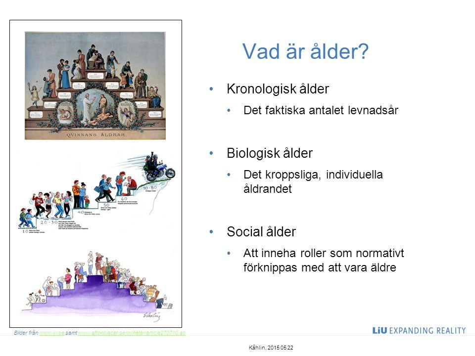Vad är åldrande Åldrandet är en process biologiska komponeter psykologiska komponenter social komponenter Åldradet ur ett livsloppsperspektiv För att förstå människors erfarenheter som äldre så måste vi förstå deras livslopp Gerontologi är vetenskapen om åldrandet och åldersrelaterade förändringar Geriatrik är vetenskapen om åldrandets sjukdomar Kåhlin, 2015 05 22