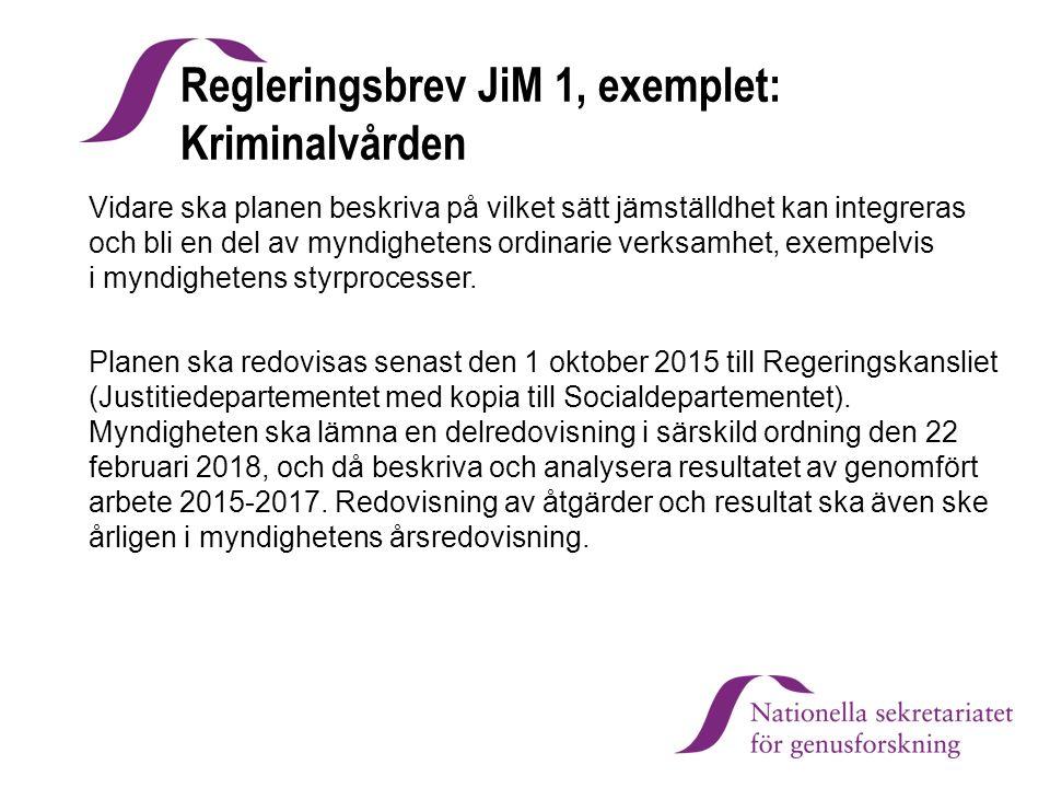 Regleringsbrev JiM 1, exemplet: Kriminalvården Vidare ska planen beskriva på vilket sätt jämställdhet kan integreras och bli en del av myndighetens or