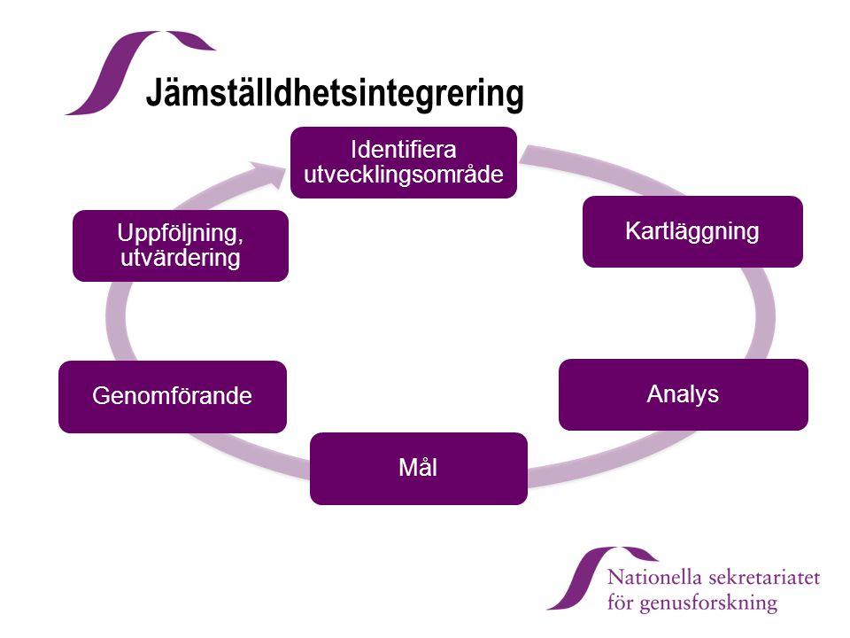 Identifiera utvecklingsområde KartläggningAnalysMålGenomförande Uppföljning, utvärdering Jämställdhetsintegrering