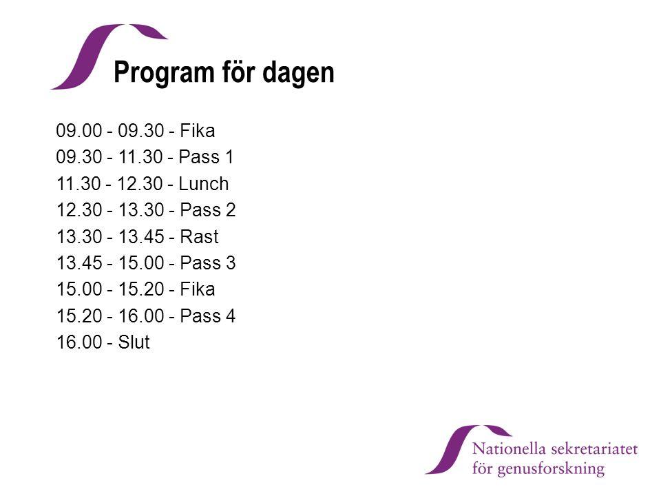 Program för dagen 09.00 - 09.30 - Fika 09.30 - 11.30 - Pass 1 11.30 - 12.30 - Lunch 12.30 - 13.30 - Pass 2 13.30 - 13.45 - Rast 13.45 - 15.00 - Pass 3