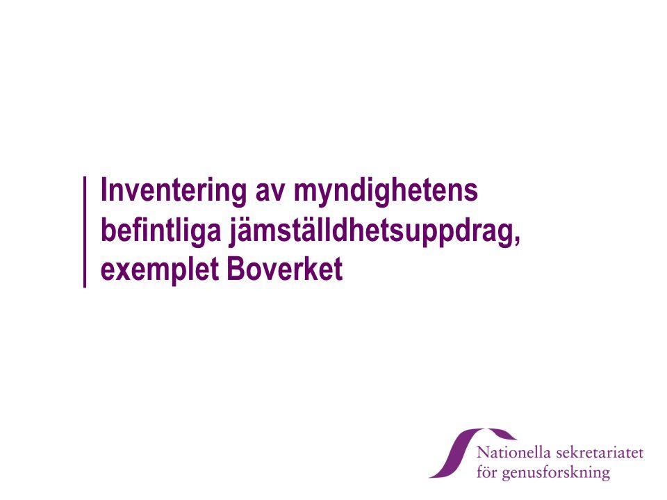 Inventering av myndighetens befintliga jämställdhetsuppdrag, exemplet Boverket