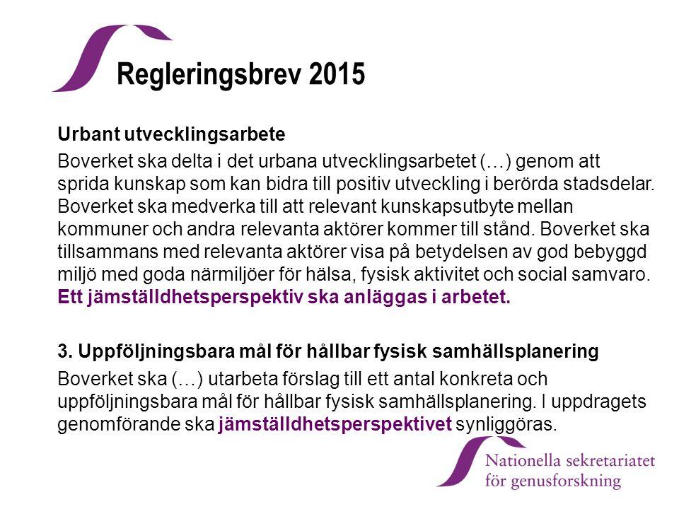 Regleringsbrev 2015 Urbant utvecklingsarbete Boverket ska delta i det urbana utvecklingsarbetet (…) genom att sprida kunskap som kan bidra till positi