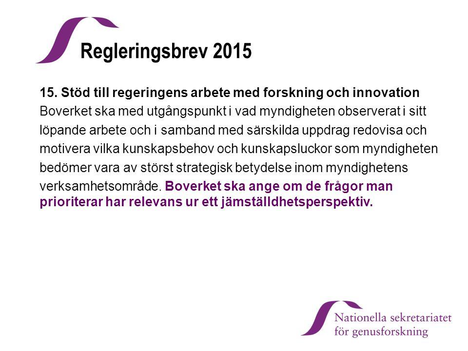 Regleringsbrev 2015 15. Stöd till regeringens arbete med forskning och innovation Boverket ska med utgångspunkt i vad myndigheten observerat i sitt lö