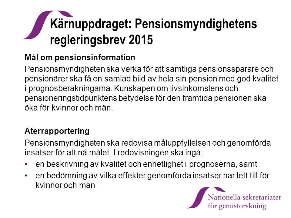 Kärnuppdraget: Pensionsmyndighetens regleringsbrev 2015 Mål om pensionsinformation Pensionsmyndigheten ska verka för att samtliga pensionssparare och
