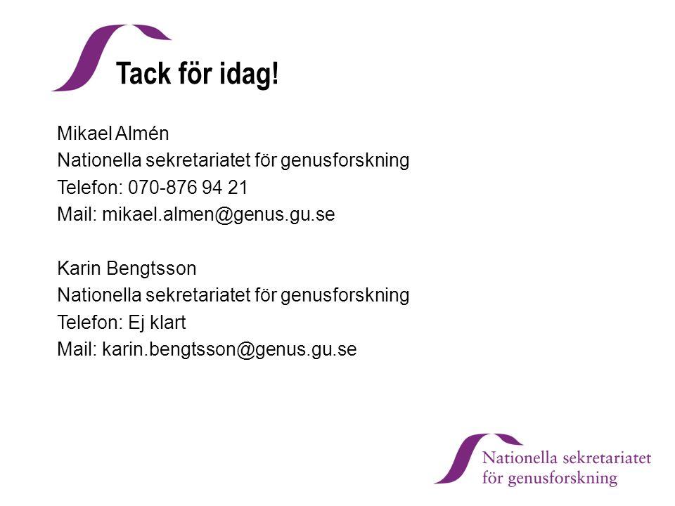 Tack för idag! Mikael Almén Nationella sekretariatet för genusforskning Telefon: 070-876 94 21 Mail: mikael.almen@genus.gu.se Karin Bengtsson Nationel