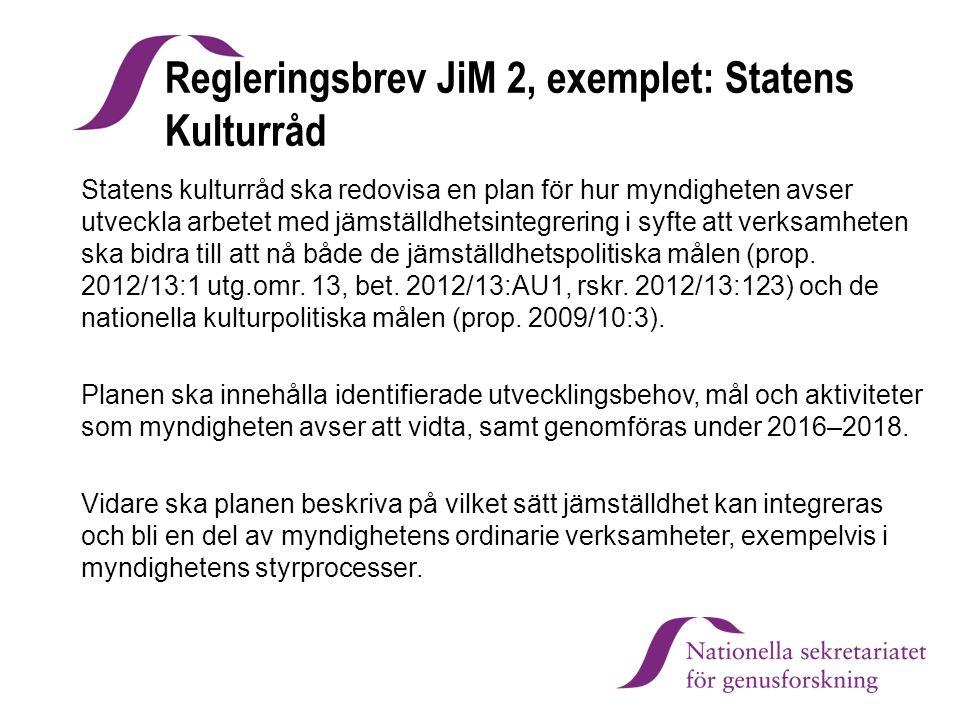 Regleringsbrev JiM 2, exemplet: Statens Kulturråd Statens kulturråd ska redovisa en plan för hur myndigheten avser utveckla arbetet med jämställdhetsi