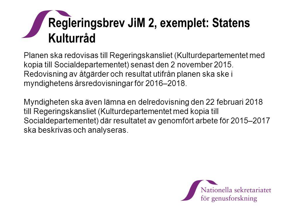 Regleringsbrev JiM 2, exemplet: Statens Kulturråd Planen ska redovisas till Regeringskansliet (Kulturdepartementet med kopia till Socialdepartementet)