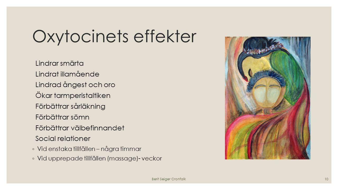 Oxytocinets effekter Lindrar smärta Lindrat illamående Lindrad ångest och oro Ökar tarmperistaltiken Förbättrar sårläkning Förbättrar sömn Förbättrar välbefinnandet Social relationer ◦ Vid enstaka tillfällen – några timmar ◦ Vid upprepade tillfällen (massage)- veckor Berit Seiger Cronfalk10