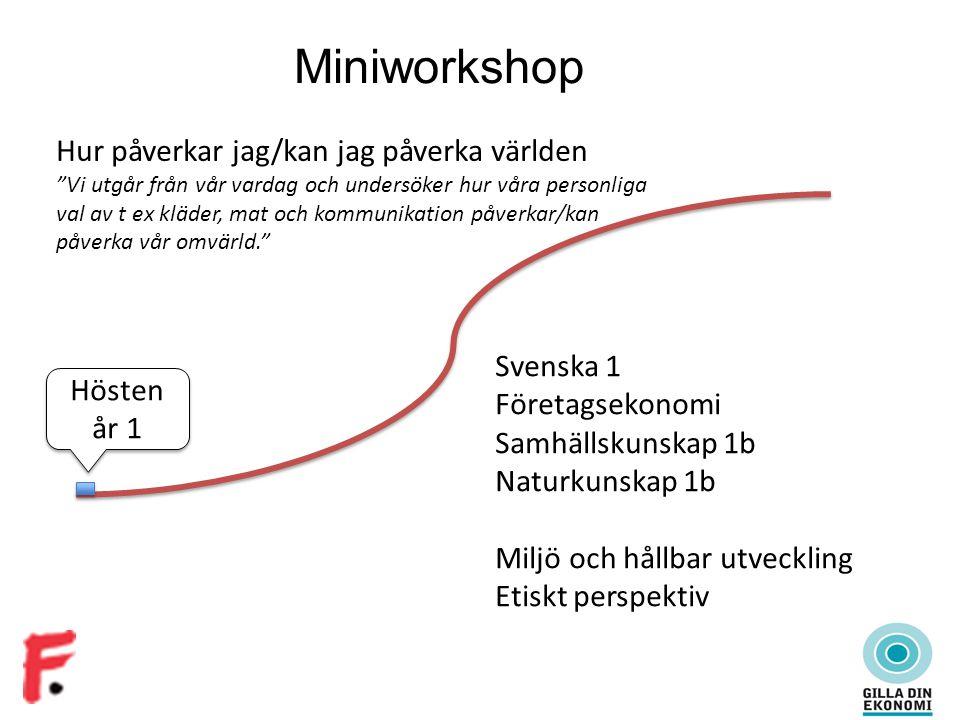 """Miniworkshop Hösten år 1 Hur påverkar jag/kan jag påverka världen """"Vi utgår från vår vardag och undersöker hur våra personliga val av t ex kläder, mat"""