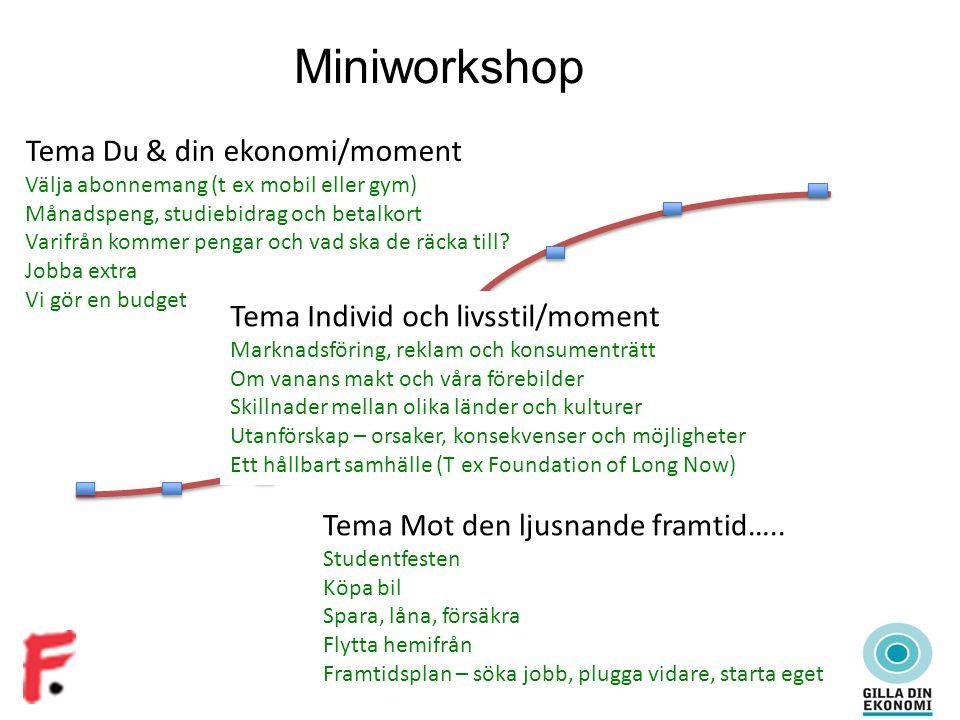 Miniworkshop Tema Du & din ekonomi/moment Välja abonnemang (t ex mobil eller gym) Månadspeng, studiebidrag och betalkort Varifrån kommer pengar och vad ska de räcka till.