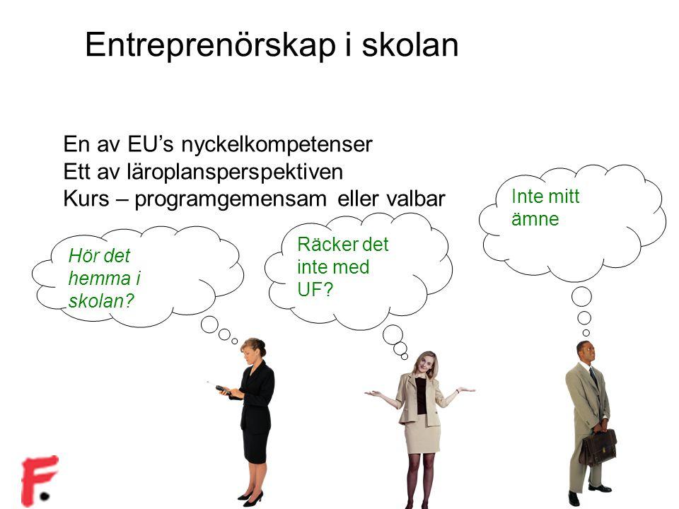 Entreprenörskap i skolan En av EU's nyckelkompetenser Ett av läroplansperspektiven Kurs – programgemensam eller valbar Hör det hemma i skolan? Räcker