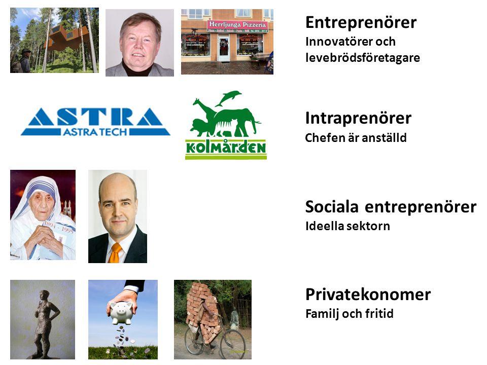 Entreprenörer Innovatörer och levebrödsföretagare Intraprenörer Chefen är anställd Sociala entreprenörer Ideella sektorn Privatekonomer Familj och fritid