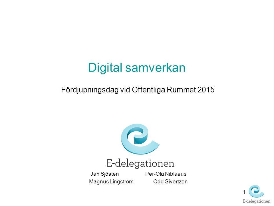 Digital samverkan Fördjupningsdag vid Offentliga Rummet 2015 1 Jan SjöstenPer-Ola Niblaeus Magnus Lingström Odd Sivertzen