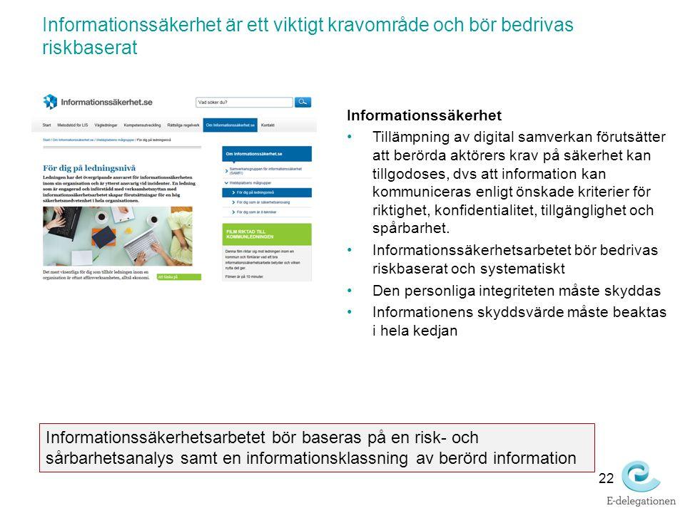Informationssäkerhet är ett viktigt kravområde och bör bedrivas riskbaserat 22 Informationssäkerhet Tillämpning av digital samverkan förutsätter att b