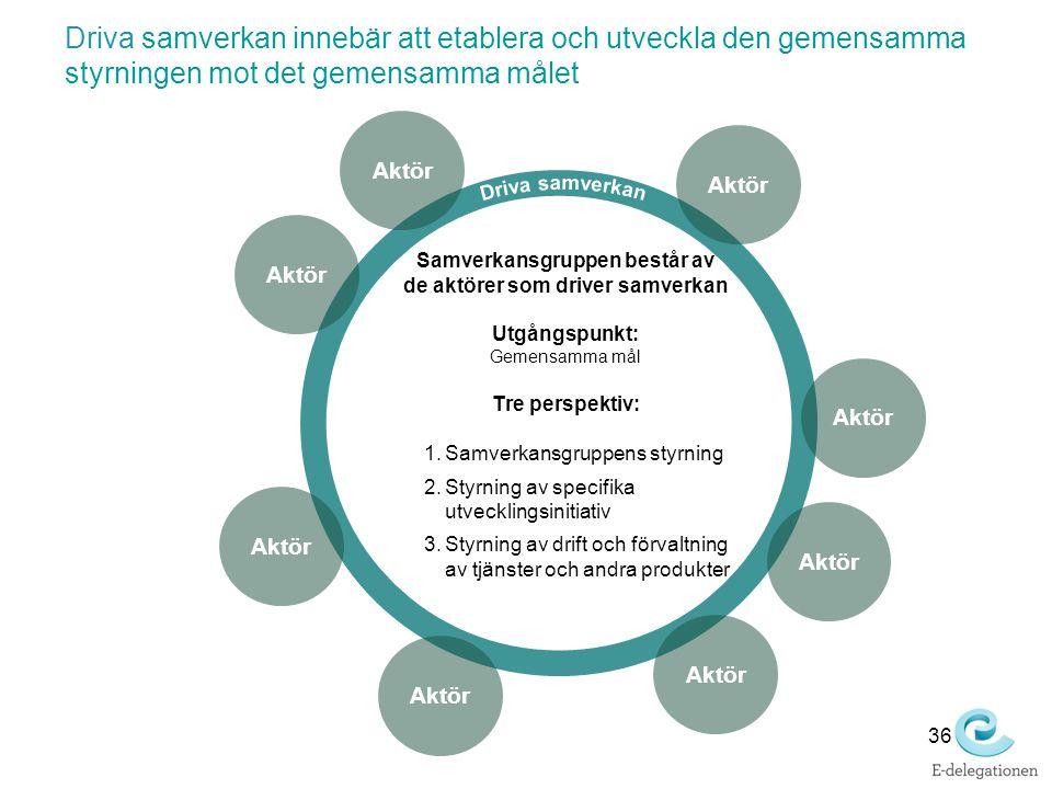 Aktör Samverkansgruppen består av de aktörer som driver samverkan Utgångspunkt: Gemensamma mål Tre perspektiv: 1.Samverkansgruppens styrning 2.Styrnin