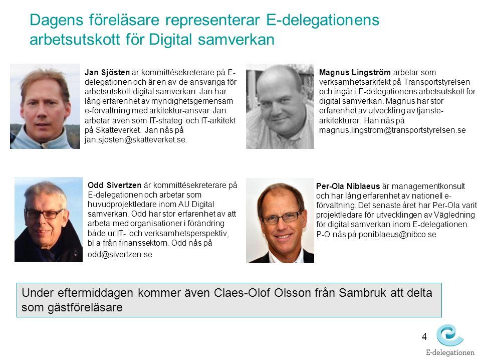 Dagens föreläsare representerar E-delegationens arbetsutskott för Digital samverkan Jan Sjösten är kommittésekreterare på E- delegationen och är en av